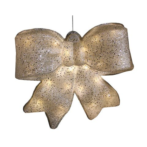 """15.5"""" Silver Glittered Battery Operated Lighted LED Christmas Bow Decoration"""