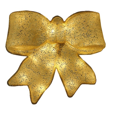 """15.5"""" Gold Glittered Battery Operated Lighted LED Christmas Bow Decoration"""