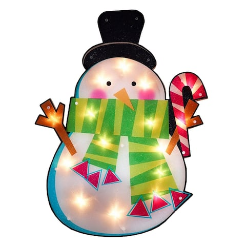"""23.75"""" Lighted Shimmering Snowman with Candy Cane Christmas Window Silhouette Decoration"""