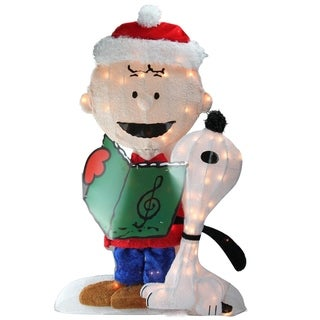 "32"" Pre-Lit Peanuts Charlie and Snoopy 2D Christmas Yard Art Decoration"