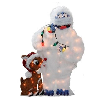 "32"" Pre-Lit Peanuts Rudolph and Bumble 2D Christmas Yard Art Decoration"