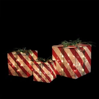 Set of 3 Lighted Red and White Striped Gift Box Christmas Yard Art Decorations