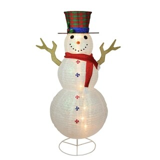 "72"" Pre-Lit Glitter Snowflake Snowman with Plaid Top Hat Outdoor Christmas Yard Art Decoration"