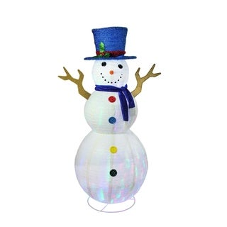 """72"""" Pre-Lit LED Multi-Color Embossed Snowman with Top Hat Outdoor Christmas Yard Art Decoration"""