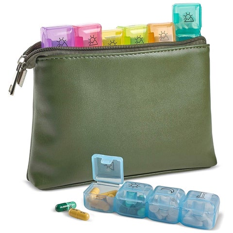 Weekly Travel 7-Day Pill Organizer with Zipper Wallet Pouch