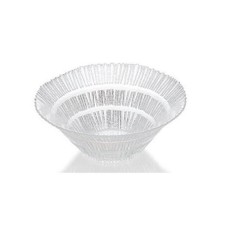 """Majestic Gifts High Quality Glass Serving Bowl W/ nice Design- 9.8"""" Diameter-Made in Europe"""