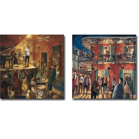 Red Jazz and New Orleans Street by Didier Lourenco 2-piece Gallery Wrapped Canvas Giclee Art Set
