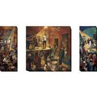 Jazz Club, Red Jazz, and Blue Jazz by Didier Lourenco 3-piece Gallery Wrapped Canvas Giclee Art Set