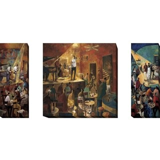 Jazz Club, Red Jazz, and Blue Jazz by Didier Lourenco 3-piece Gallery Wrapped Canvas Giclee Art Set