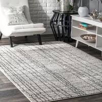 """nuLOOM Gray Transitional Modern Abstract Artsy Electric Lined Area Rug - 7'6"""" x 9'6"""""""