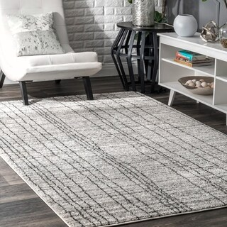 nuLOOM Gray Transitional Modern Abstract Artsy Electric Lined Area Rug