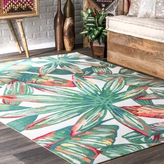 nuLOOM Multi Indoor/Outdoor Contemporary Tropical Magestic Floral Bloom Area Rug - Green Leaf - 8' x 10'