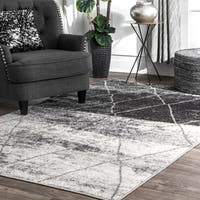 """nuLOOM Gray Modern Abstract Artsy Electric Lined Ombre Trellis Area Rug - 7' 6"""" x 9' 6"""""""