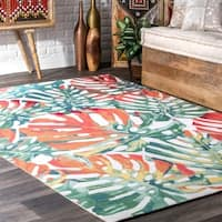 nuLOOM Multi Indoor/Outdoor Contemporary Tropical Magestic Palm Tree Leaf Area Rug - 8' x 10'