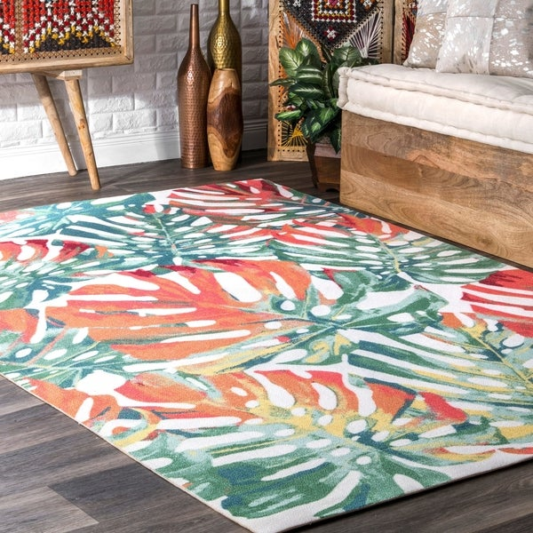 shop nuloom multi indoor outdoor contemporary tropical majestic palm tree leaf area rug on. Black Bedroom Furniture Sets. Home Design Ideas