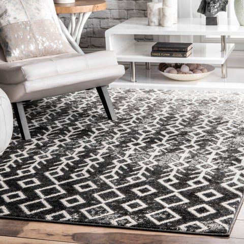 """nuLOOM Black & White Modern Abstract Boho Electric Lined Ombre Area Rug - 7' 6"""" x 9' 6"""""""