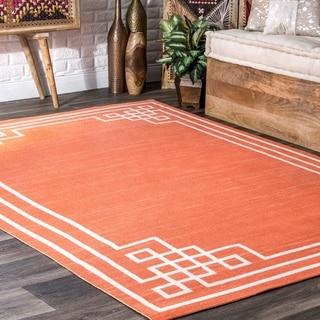 nuLOOM Orange Indoor/Outdoor Contemporary Eternity Fancy Geo Border Area Rug
