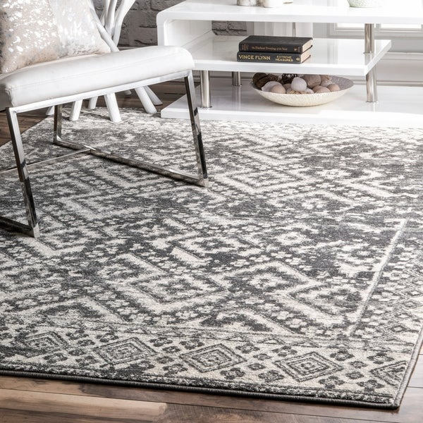 Shop Nuloom Gray Transitional Modern Ombre Aztec Geo