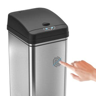 itouchless 13 gallon deodorizer filtered stainless steel sensor trash can - Stainless Steel Kitchen Trash Can