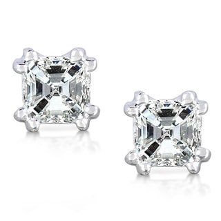 Annello by Kobelli 14k White Gold 3/4ct TDW Diamond Stud Earrings (H-I, SI1-SI2)