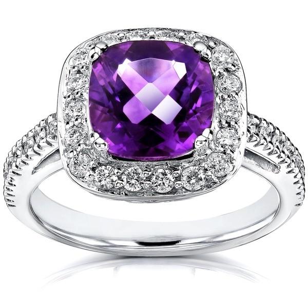 Annello by Kobelli 14k White Gold 1/2ct Diamond Amethyst Ring