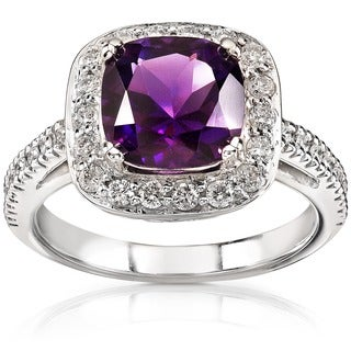 Annello by Kobelli 14k White Gold 1/2ct Diamond Amethyst Ring