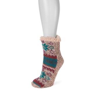 MUK LUKS® Women's 1-Pair Pieced Cabin Socks