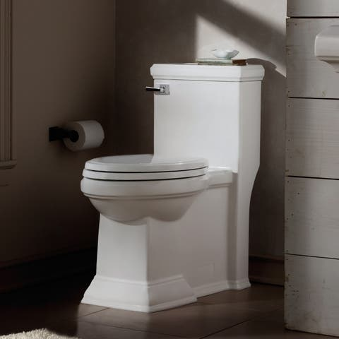 American Standard Town Square FloWise Right Height Elongated One-Piece Toilet with Right Hand Trip Lever 2847.813.020 White