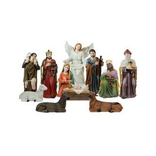 11-Piece Multi-Color Religious Christmas Nativity Figurine Set 39""