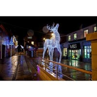 9.5' Commercial Size White Reindeer Lighted Christmas Yard Art Decoration