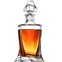Glass Whiskey Liquor Decanter - High-End Modern Wine Decanter Weighted Bottom European Design 100% Lead Free Crystal Clear