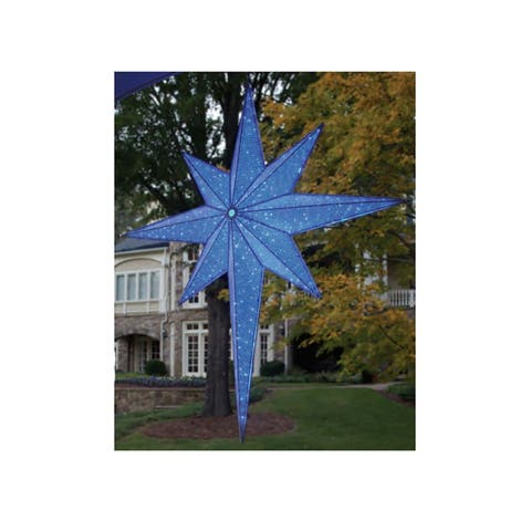 72 Led Lighted Blue And Silver Moravian Star Commercial Hanging Christmas Light Decoration