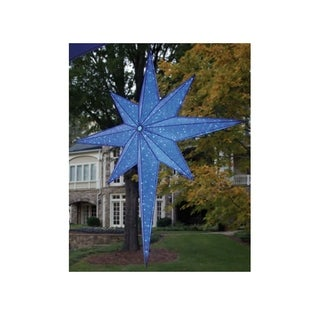 "72"" LED Lighted Blue and Silver Moravian Star Commercial Hanging Christmas Light Decoration"