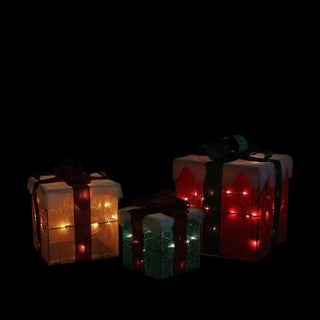 Set of 3 Lighted Gold Green and Red Gift Boxes Christmas Yard Art Decorations