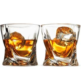 Double Old Fashioned Whiskey Glasses - Set Of 2-8 Oz Cocktail Glasses
