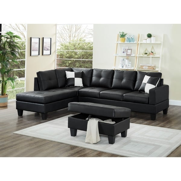 Faux Leather Sectional Sofa Set With Storage Ottoman