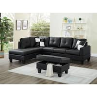 Shop Mirco Fiber And Faux Leather Piacenza Sectional Sofa With Ottoman Free Shipping Today