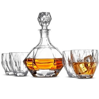 Glass Whiskey Decanter Set - High-End 5-Piece Whiskey Decanter Set, Weighted Bottom European Design 12 oz whiskey Glasses