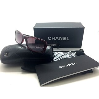 Chanel Sunglasses 5209q 539/3l Bordeaux Quilted Leather Chain Rectangle Auth