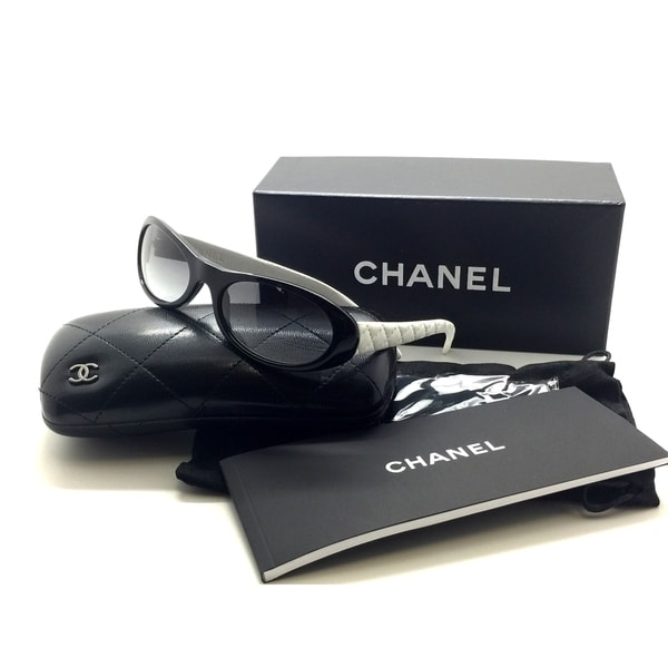5af2fc87d10 Shop CHANEL Black White Sunglasses Quilted Leather 5129-Q c.1029 11 54MM  ITALY - Free Shipping Today - Overstock.com - 23004245