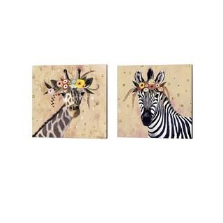 Victoria Borges 'Klimt Giraffe & Zebra II' Canvas Art (Set of 2)