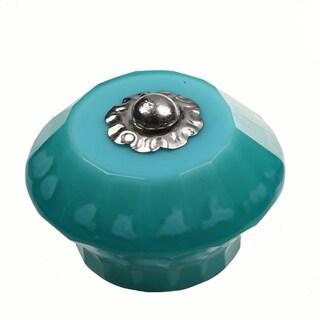 GlideRite 1.625-inch Round Glass Gem Aqua India Cabinet Knobs (Pack of 25)