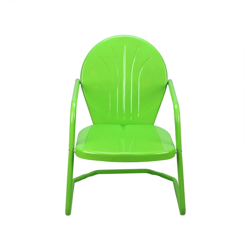 Retro Metal Tulip Armchair Lime Green