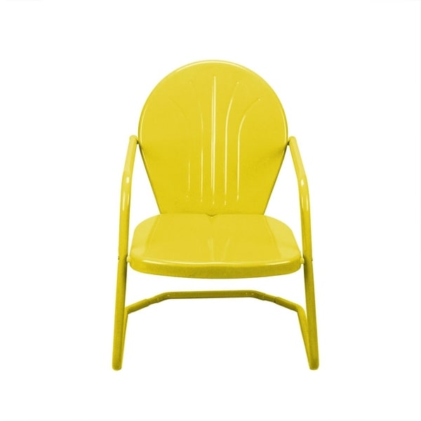 Shop Outdoor Retro Metal Tulip Armchair Yellow   Free Shipping Today    Overstock   23004526