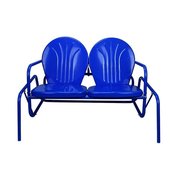 41 Electric Blue Retro Metal Tulip Outdoor Double Glider Free Shipping Today 23004528