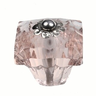 GlideRite 1.25-inch Clear Pink Glass Square India Cabinet Knobs (Pack of 10)