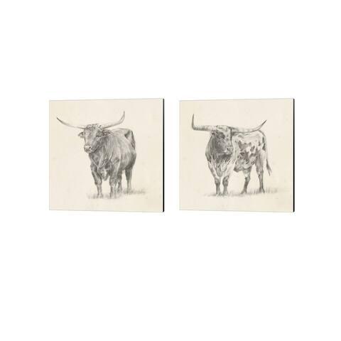 Ethan Harper 'Longhorn Steer Sketch' Canvas Art (Set of 2)