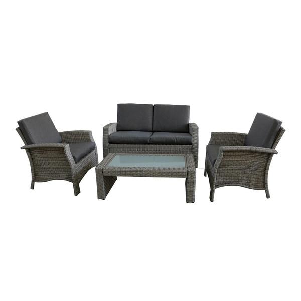 Shop 4 Piece Gray Resin Wicker Outdoor Patio Furniture Set Gray