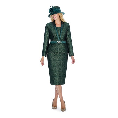Giovanna Signature Women's Metallic Brocade 2-piece Skirt Suit