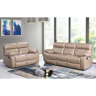 Abbyson Clayton Beige Top Grain Leather Reclining 2 Piece Living Room Set
